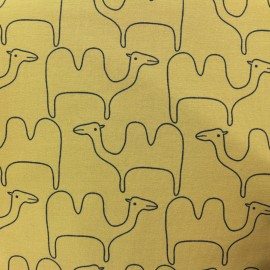 Tissu jersey Chameau - jaune moutarde x 10cm