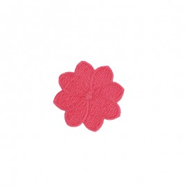 Embroidered Florette Iron-On Patch - Coral