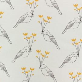 Tissu jersey Oiseau de paix - gris x 10cm