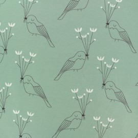Organic and Oeko-Tex cotton jersey fabric - grey Oiseau de paix x 10cm
