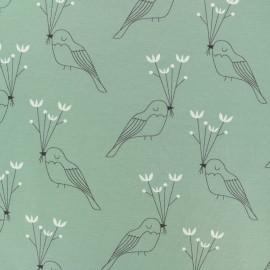 Tissu jersey Oiseau de paix - vert x 10cm