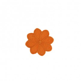 Embroidered Florette Iron-On Patch - Orange