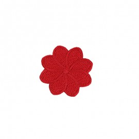 Embroidered Iron-On Patch - Red Florette