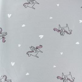 Organic and Oeko-Tex cotton jersey fabric - grey Glitter unicorn x 10cm