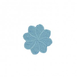 Embroidered Iron-On Patch - Sky Blue Florette