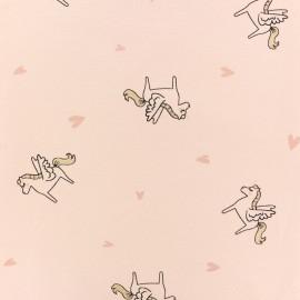 Tissu jersey licorne pailletée - rose x 10cm