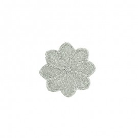 Embroidered Iron-On Patch - Silver Florette
