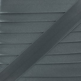 Satin bias binding, 20 mm - grey