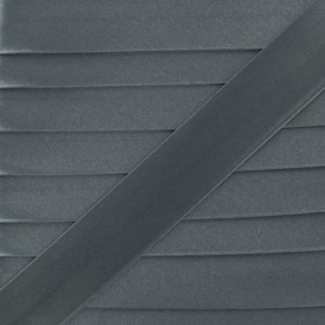 Satin bias binding, 20 mm - grey