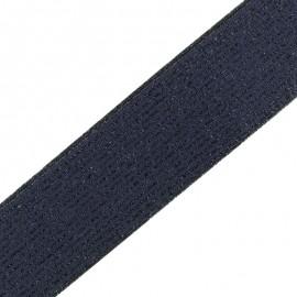 Elastique plat lurex 40mm - navy/noir x 50cm