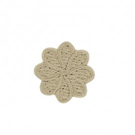 Embroidered Iron-On Patch - Beige Florette