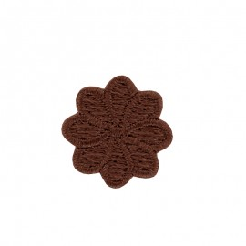 Embroidered Iron-On Patch - Brown Florette
