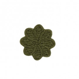 Embroidered Iron-On Patch - Khaki Florette