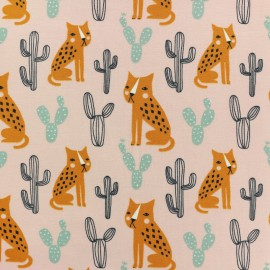 Organic and Oeko-Tex cotton jersey fabric - pink desert lynx x 10cm