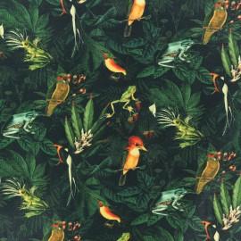 Tissu coton Exotic wildlife - vert x 10cm