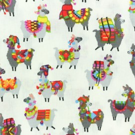 Coated cretonne cotton fabric - Raw llama x 10cm