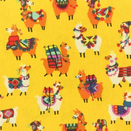 Coated cretonne cotton fabric - yellow llama x 10cm