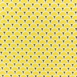 Tissu coton crétonne enduit Eventail - Safran x 10cm