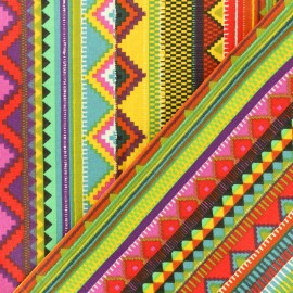 Coated cretonne cotton fabric - Multicolor Mexico x 10cm