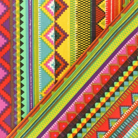 Coated cretonne cotton fabric - Multicolor Triangolo x 10cm