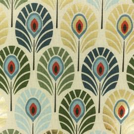 Tissu polycoton Plume de paon - canard/doré x 10cm