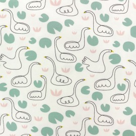 Organic and Oeko-Tex cotton jersey fabric - White Swan x 10cm