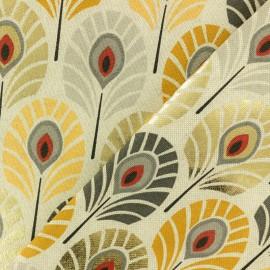 Tissu polycoton Plume de paon - jaune/doré x 10cm