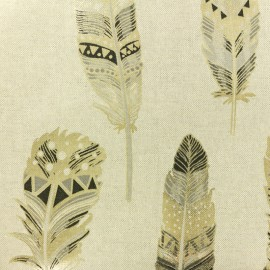 Polycotton fabric - Gold Ethnic Feather x 10cm