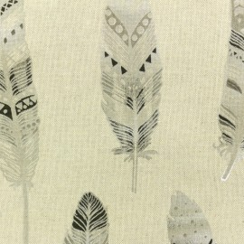 Polycotton fabric - silver Ethnic Feather x 10cm
