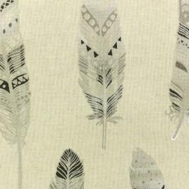 Tissu polycoton Plume ethnique - argenté x 10cm