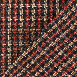 Lurex Tweed fabric - red Margaret x 10cm