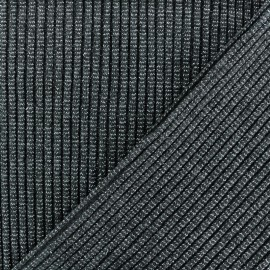Lurex knitted Jersey 3/3 Tubular edging Fabric - dark grey x 10 cm