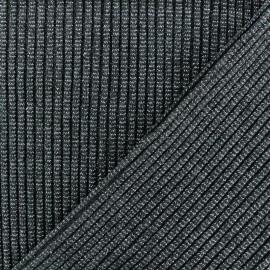Tissu jersey tubulaire Bord Côte 3/3 Lurex - gris foncé x 10cm