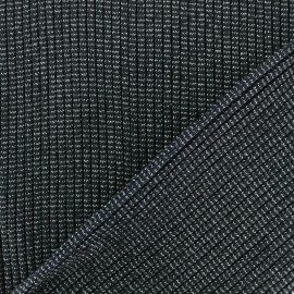 Lurex knitted Jersey 3/3 Tubular edging Fabric - black x 10 cm