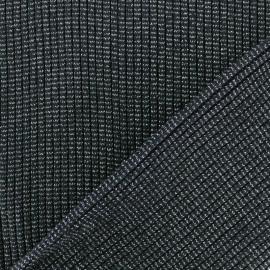 Lurex knitted Jersey 3/3 Tubular edging Fabric - dark grey x 10 cm
