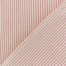 Lurex knitted Jersey 3/3 Tubular edging Fabric - light pink x 10 cm