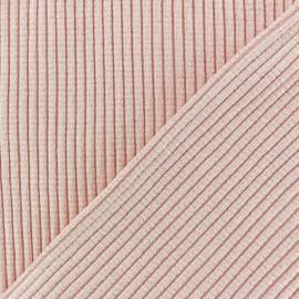 Tissu jersey tubulaire Bord Côte 3/3 Lurex - rose clair x 10cm