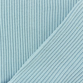 Lurex knitted Jersey 3/3 Tubular edging Fabric - sky blue x 10 cm