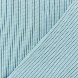 Tissu jersey tubulaire Bord Côte 3/3 Lurex - Bleu ciel x 10cm