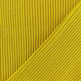 Tissu jersey tubulaire Bord Côte 3/3 Lurex - jaune moutarde x 10cm