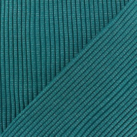 Lurex knitted Jersey 3/3 Tubular edging Fabric - Peacock Green x 10 cm