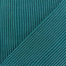 Tissu jersey tubulaire Bord Côte 3/3 Lurex - vert paon x 10cm
