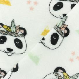 Tissu Doudou Amarok le panda - blanc x 10 cm