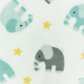Tissu Doudou Elephant et étoile - blanc x 10 cm