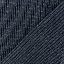 Lurex knitted Jersey 3/3 Tubular edging Fabric - navy blue x 10 cm