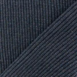 Tissu jersey tubulaire Bord Côte 3/3 Lurex - bleu marine x 10cm