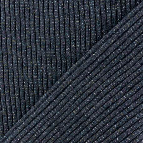 Lurex knitted Jersey 3/3 Tubular edging Fabric - navy blue x 10 cm