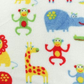 Flanell fleece fabric - White Pop Jungle x 10cm