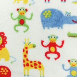 Tissu Doudou Pop Jungle - blanc x 10 cm