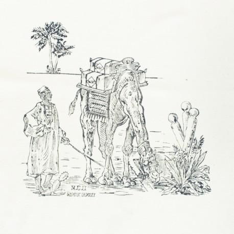Hand Printed Cotton Panel - Grey Sahara